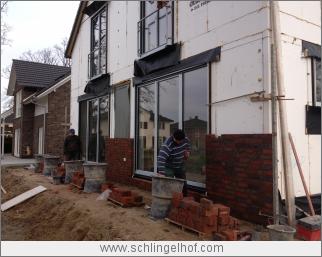 Beginn Erstellung der Klinker-Fassade