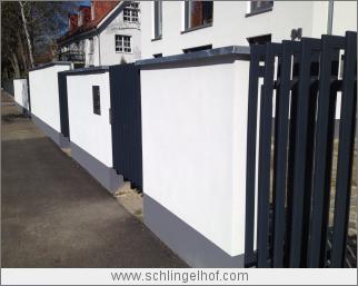 Villa in Berlin-Pankow, Bauphase Außenanlagen Detail Zaun Einfriedung